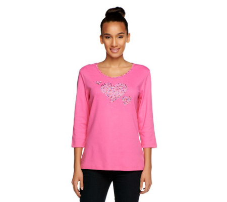 Quacker Factory Sparkle Triple Heart 3/4 Sleeve T-shirt
