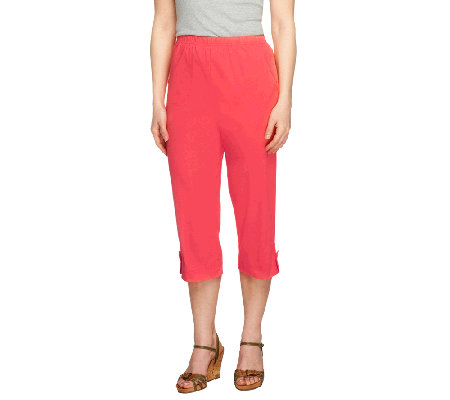 "Denim & Co. ""How Timeless"" Petite Jean Capris with Tab Detail"