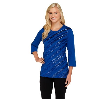 Quacker Factory Diagonal Sequin 3/4 Sleeve T-shirt