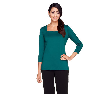 Susan Graver Essentials Butterknit Square Neckline 3/4 Sleeve Top