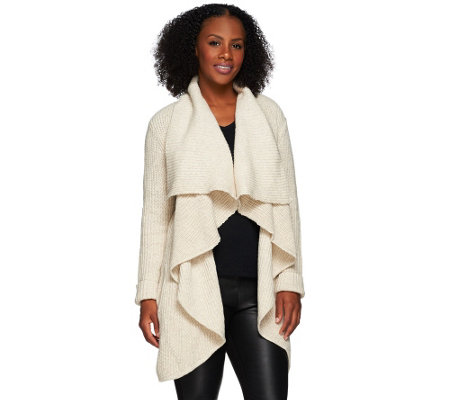 H by Halston Long Sleeve Shawl Collar Open Front Knit Cardigan