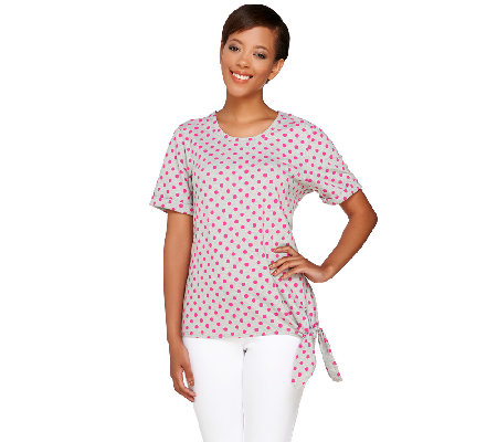 """As Is"" Denim & Co. Knit Short Sleeve Polka Dot Print Top with Side Tie"