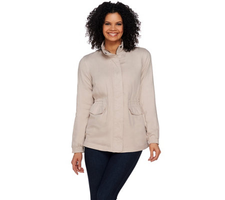 Lisa Rinna Collection Zip Front Anorak Jacket with Pockets