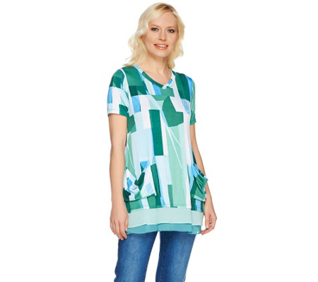 LOGO by Lori Goldstein Printed Top with Pockets & Color-Block Hem
