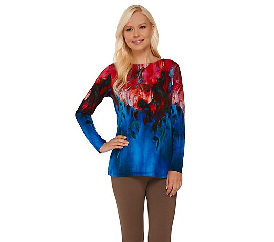 """As Is"" Bob Mackie's Watercolor Print Pullover Top"