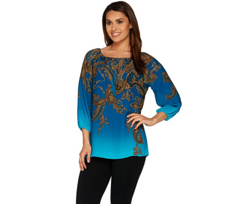 Susan Graver Printed Feather Weave Peasant Top