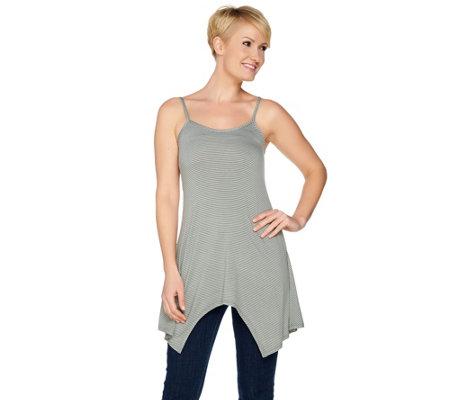 LOGO Layers by Lori Goldstein Striped Camisole with Asymmetric Hem