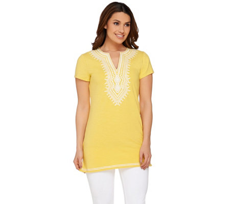 """As Is"" C. Wonder Embroidered V-neck Short Sleeve Tunic"
