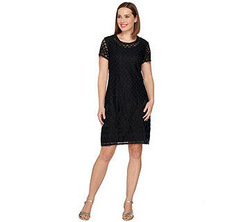 Isaac Mizrahi Live! Stretch Lace Short Sleeve Dress - A288082