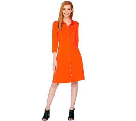 H by Halston Regular Jet Set Jersey Knit Shirt Dress