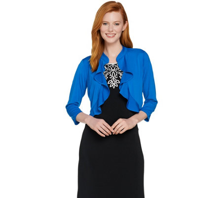 Bob Mackie's 3/4 Sleeve Knit Bolero with Ruffle Detail