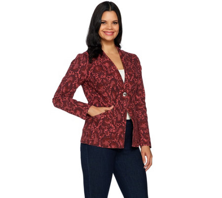 G.I.L.I. Stretch Canvas Snake Printed Blazer
