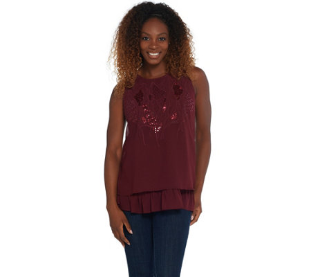 LOGO Lavish by Lori Goldstein Cotton Slub Tank with Chiffon Trim