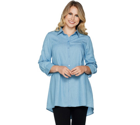 Joan Rivers Lightweight Denim Swing Style Shirt