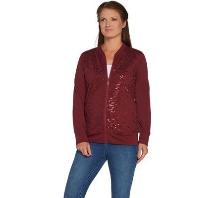 Quacker Factory Sequin Swirl Zip Front French Terry Bomber Jacket