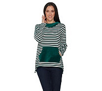 Denim & Co. Striped Knit Tunic with Stretch Velour Hood and Pocket - A299382
