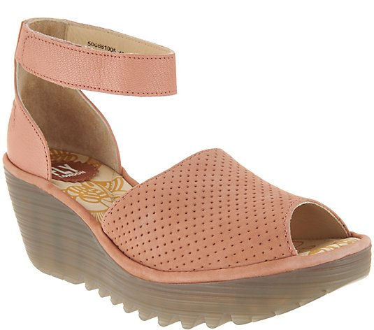 """As Is"" FLY London Perforated Leather Wedge Sandals - Yake"