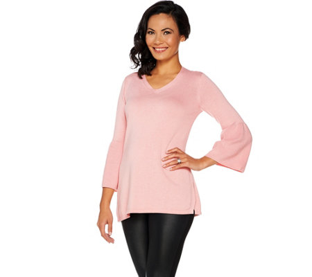 """As Is"" H by Halston V-neck Bell Sleeve Sweater Tunic"