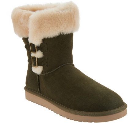 c9aa3df240f Koolaburra by UGG Suede Short Boots with Buckles - Sulana — QVC.com