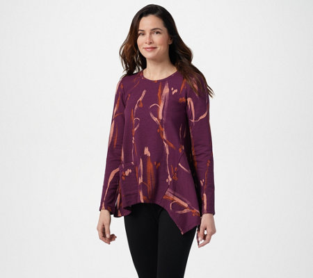 LOGO Lounge by Lori Goldstein Printed French Terry Top w/ Asymmetric Hem