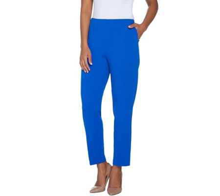 """As Is"" Dennis Basso Luxe Crepe Pull-On Straight Leg Pants- Regular"