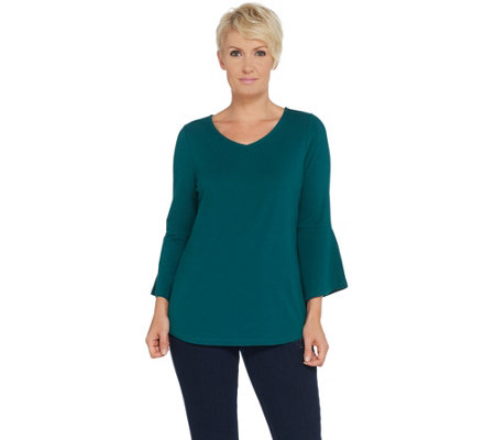 Belle by Kim Gravel TripleLuxe Bell Sleeve V-Neck Top