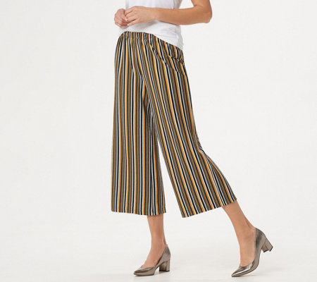 Joan Rivers Regular Pull-On Striped Cropped Pants