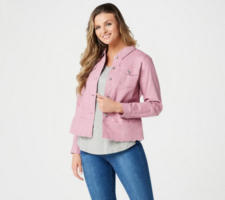 Studio by Denim & Co. Twill Jean Jacket with Scallop Bottom