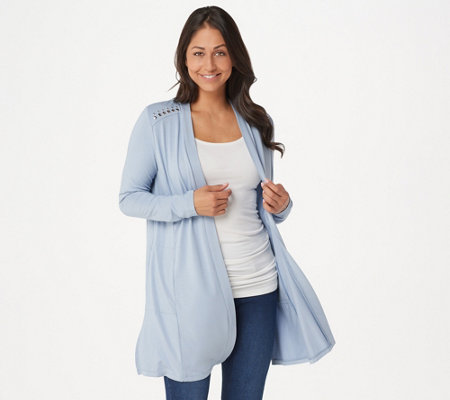 Dennis Basso Soft Touch Duster Cardigan with Rivets