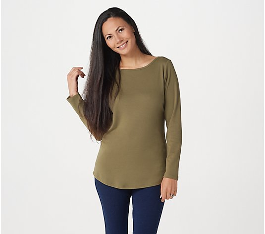 Denim & Co. Essentials Interlock Boatneck Long-Sleeve Top