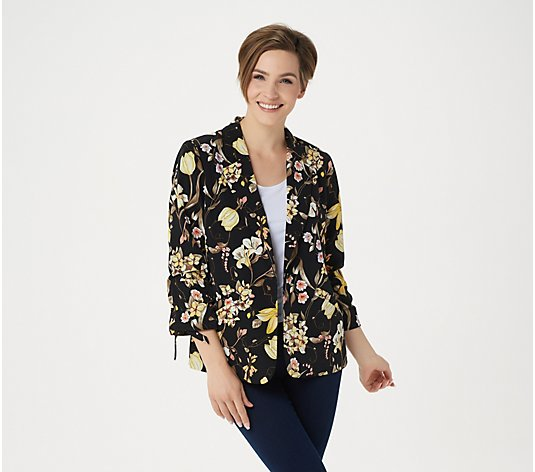 """As Is"" Susan Graver Printed Peachskin Blazer with Ruched Sleeves"