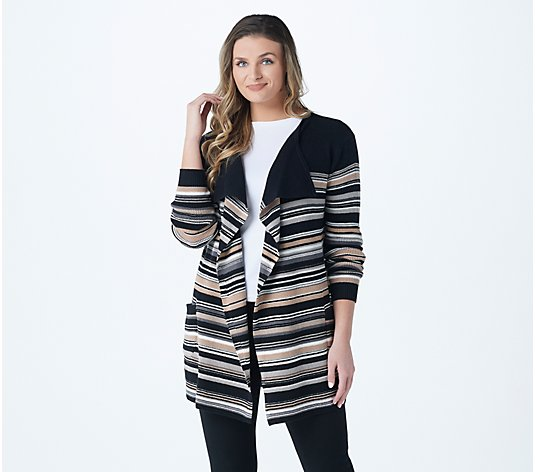 Isaac Mizrahi Live! TRUE DENIM Striped Cascade Front Cardigan