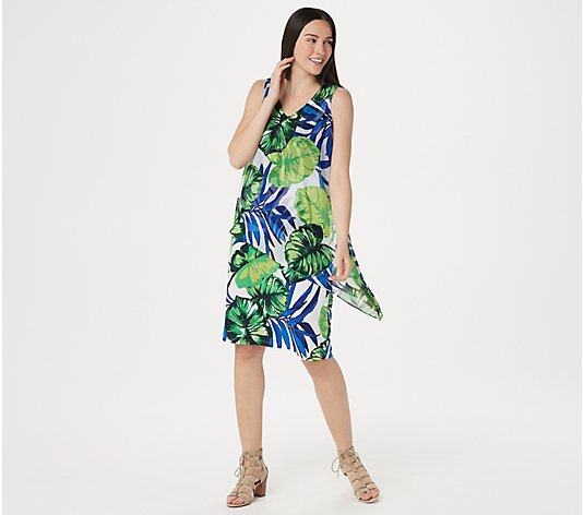 """As Is"" Susan Graver Printed Liquid Knit Dress with Printed Overlay"