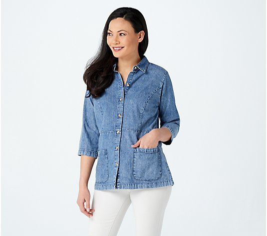 Joan Rivers 3/4-Sleeve Denim Shirt with Back Button Detail