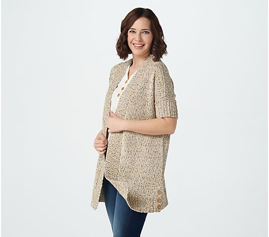 Denim & Co. Naturals Open-Front Cardigan with Button Detail