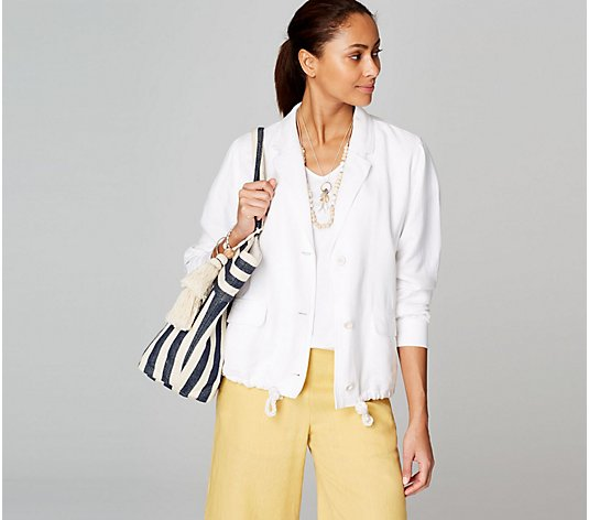 J.Jill Linen Blend Jacket with Drawstring Detail