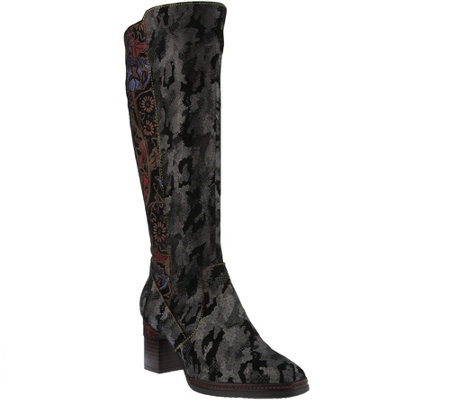 L'Artiste by Spring Step Leather and Velvet Boots - Geourqes