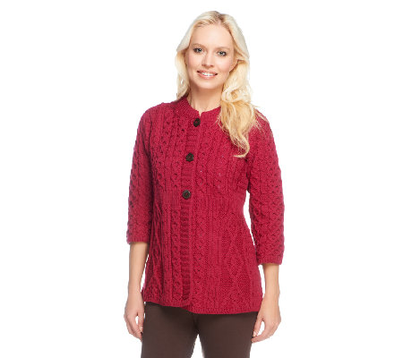 Kilronan Merino Wool Empire Waist 3/4 Sleeve Cardigan