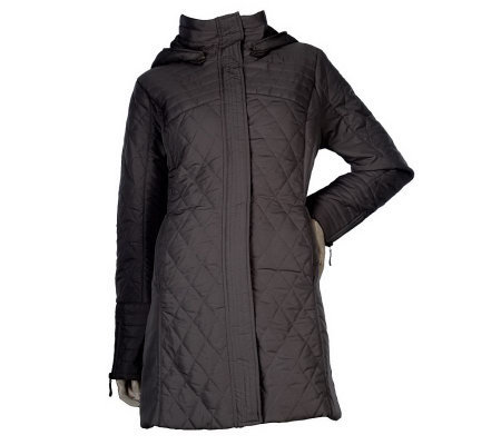 George Simonton Zip Front Quilted Coat with Removable Hood
