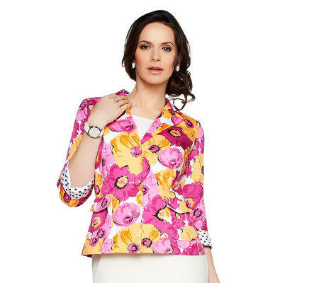 Joan Rivers Floral Bouquet 3/4 Sleeve Jacket
