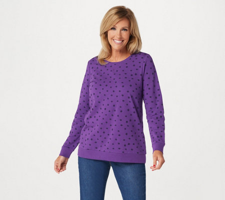 Denim & Co. Active Dot Print French Terry Sweatshirt
