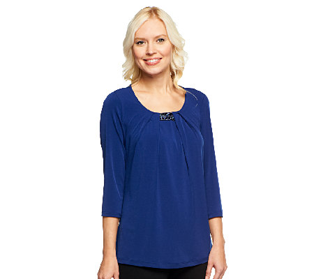 Susan Graver Liquid Knit Top w/ Pleated Front and Embellishments