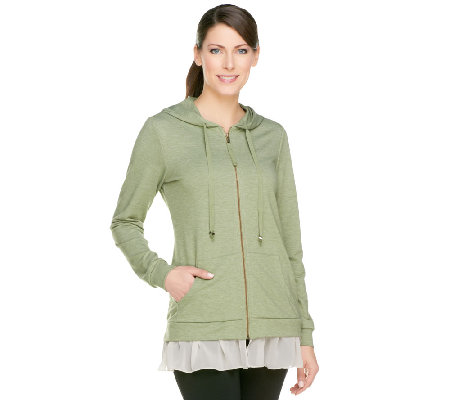 LOGO Lounge by Lori Goldstein French Terry Hoodie with Chiffon Trim