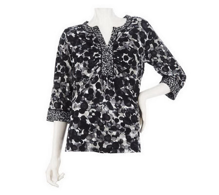 """As Is"" Susan Graver Liquid Knit Printed Top with Ruched Neckline"
