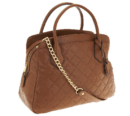 Joan Rivers Quilted Leather Satchel with Removable Chain Strap