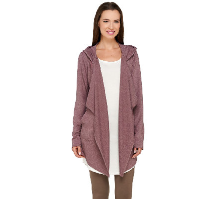 LOGO Lounge by Lori Goldstein French Terry Cascade Front Hooded Cardigan