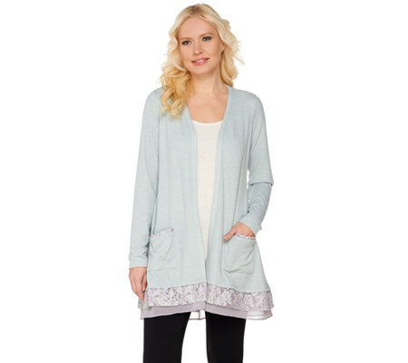 LOGO by Lori Goldstein Waffle Knit Cardigan with Lace Trim