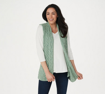 Kilronan Merino Wool Open Front Vest with Pockets
