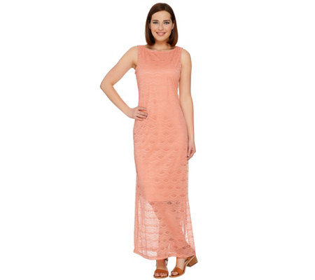 C. Wonder Petite Stretch Lace Sleeveless Maxi Dress