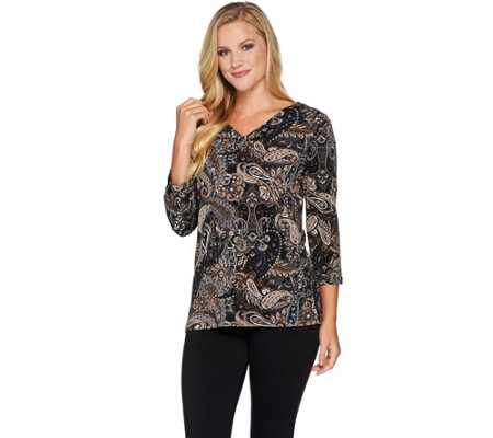 Susan Graver Printed Textured Liquid Knit V-neck Top